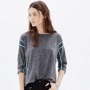 Madewell • Nordic Teal Grey Striped Sweater